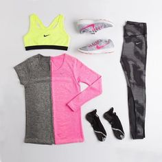 Pink, Grey & Yellow Workout Outfit
