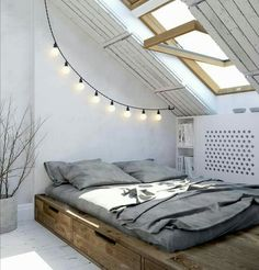 Scandinavian bedroom #wood#bed