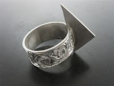 SAROS CARVED RING. Sterling Silver, Hand Engraved, Available in Antique or High Polished Finish, 10mm Wide - Jelena Behrend Studio. On sale. #jelenabehrendstudio #jbsholidaygifts