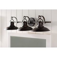 Allen roth 3 light hainsbrook aged bronze bathroom vanity light meridian 3 light vanity light aloadofball Gallery