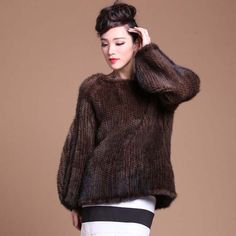 NEW Fashion 100% Real Knitted Mink Fur Coat Poncho Jacket Sweater Women Outwear  #BF #BasicCoat