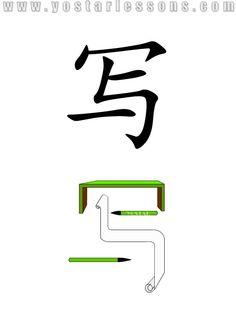 写 = write. Imagine write a long letter with two pen under the desk. Detailed Chinese Lessons @ www.yostarlessons.com