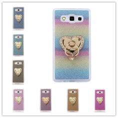 Luxury Shimmering Powder Fundas Phone Case For Samsung Galaxy S4 mini i9190 Cover Soft TPU Bling Glitter Diamante Ring Stands