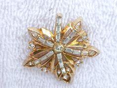 Signed Crown Trifari gold tone rhinestone maple by MeyankeeGliterz