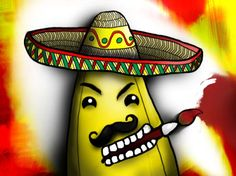 Hello my BananAmigos! Don't you think that there is nothing more charming than a banana with a sombrero and such a manly mustache? And the best thing is that the sombrero protects me from getting ugly, old bananalike, brown spots. BananAwesome!