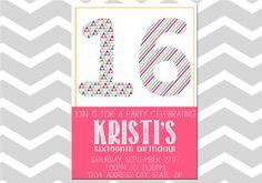 16th Birthday Invitation/Card Sixteenth by ADashOfBeautiful, $6.00