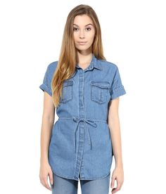 The Gud Look Womens Denim Sleeveless Foldover Denim Shirt M Blue >>> You can get additional details at the image link. Blue Denim Shirt, Denim Shirts, All About Fashion, Rompers, Fashion Outfits, Shorts, Casual, Image Link, Jackets