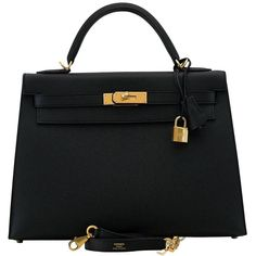 Hermes Kelly Bag 32 cm Epsom Leather Sellier 89 Black Color GHW 2016 (£14,800) ❤ liked on Polyvore featuring bags, handbags, leather bags, genuine leather handbags, preowned handbags, genuine leather bags and hermès