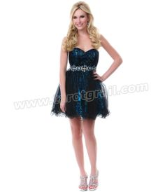Black & Blue Illusion Mesh Prom Dress