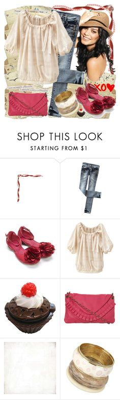 """xo?"" by krivonja ❤ liked on Polyvore featuring Monsoon, Dollydagger, Miss Selfridge, BasicGrey, Oasis, bangles, tops, flats, jeans and bags"