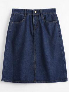 Knee Length Denim Skirt - CERULEAN S