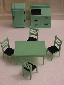 Vtg Renwal Dollhouse Jadite Green Kitchen Table Chairs Stove Refrigerator Lot | eBay-Love this!