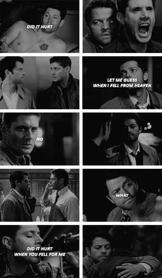 """Did it hurt when you fell for me?"" ""So much."" #spn #destiel"
