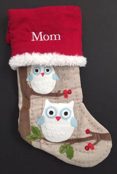 e4a76ca2e49 Pottery barn kids christmas woodland stocking owl  mom  new red plush gift