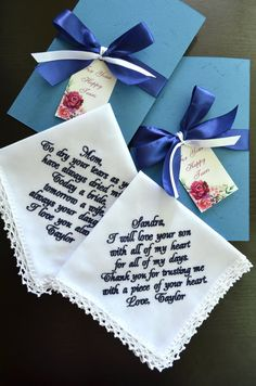 Wedding handkerchief set Personalized embroidered hankerchief - Parents wedding gift Wedding Gifts For Parents, Mother Of The Groom Gifts, Bride And Groom Gifts, Best Wedding Gifts, Mother Of The Bride, Wedding Day, Wedding Handkerchief, Happy Tears, Son Love