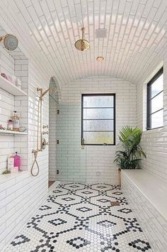 50 Best Farmhouse Bathroom Tile Design I. - 50 Best Farmhouse Bathroom Tile Design Ideas And Decor - Decoration Inspiration, Bathroom Inspiration, Bathroom Inspo, Bathroom Ideas, Bathroom Black, Moroccan Bathroom, Decor Ideas, Bathroom Mirrors, Bathroom Curtains