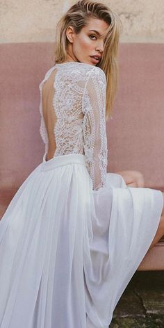 24 Lovely Lace Back Wedding Dresses ❤️ lace back wedding dresses open with long sleeves immacle novias ❤️ Full gallery: https://weddingdressesguide.com/lace-back-wedding-dresses/ #weddingdress
