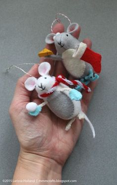cute that they have little arms/paws and are holding things - - - mmmcrafts: nice mice for my girls