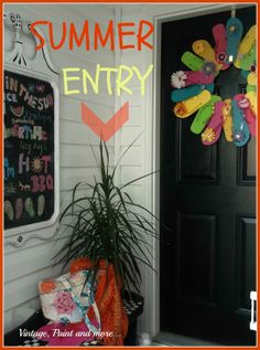 Vintage, Paint and more ~ Summer Entryway 2013  ~ shared at Brag About It Link Party on VMG206 (Monday's at Midnight). #bragaboutit