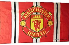 Manchester United Bar Striped with Club Crest Large Flag 5ft x 3ft