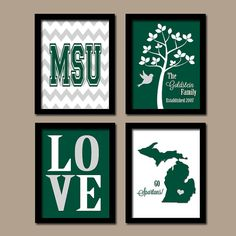 MSU Michigan State University Spartans College Custom Family Initial State Love Bird Tree Wedding Date Set of 4 Prints Wall ART Graduation