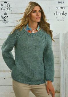 Ladies Super Chunky Knitting Pattern King Cole Long Sleeved Sweater Jumper 4063