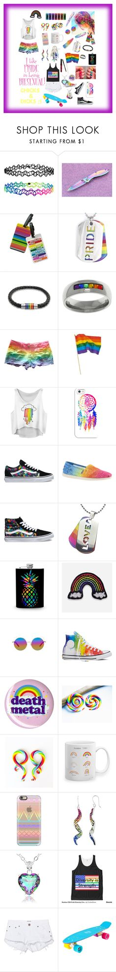 """PRIDE LGBTQ"" by carlile3121 ❤ liked on Polyvore featuring Accessorize, TravelSmith, West Coast Jewelry, Bling Jewelry, Carolina Glamour Collection, Casetify, Vans, Skechers, Hipstapatch and Matthew Williamson"
