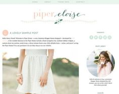 "Blogger Template Premade Blog Design - ""Piper Eloise"" Blogger Theme Pink Flowers"