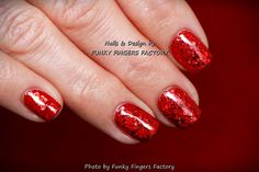 Gelish Red Glitter nails by FUNKY FINGERS FACTORY