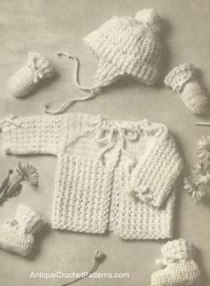 Puff Stitch Baby Set free crochet pattern - I made this for my son when he was b. : Puff Stitch Baby Set free crochet pattern – I made this for my son when he was born many years ago Crochet Baby Sweaters, Crochet Baby Clothes, Baby Knitting, Crochet Baby Cardigan Free Pattern, Vintage Crochet Patterns, Easy Crochet Patterns, Simple Crochet, Baby Set, Baby Baby