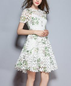 Loving this Coeur de Vague Green & White Leaf Floral Fit & Flare Dress on #zulily! #zulilyfinds
