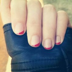 Diagonal red tip French manicure art