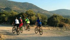 Cycling in the hills of Lesvos. Photo: Helen Voce/Greentraveller