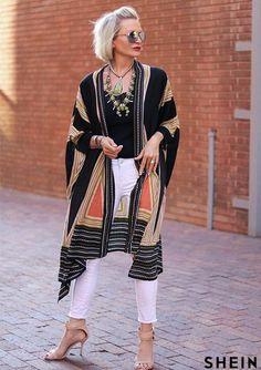 Boho Long Blouse ~ Women Multicolor Vintage Loose Dress ~ Long Sleeve Kimono : ITEM: Loose Sleeve Long Dress Kimono Sleeve Length(cm): Full Clothing Length: Long Collar: V-Neck Fabric Type: Broadcloth Material: Rayon Bohemian Kimono, Bohemian Mode, Boho Chic, Fashion Over 50, Look Fashion, Fall Fashion, Fashion Women, Boho Outfits, Casual Outfits