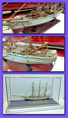 """Barquentine """"Graig Ewen"""" showing the model before restoration and complete in one of our copper framed glass cases with a hardwood base Model Sailing Ships, Model Ships, Copper Frame, Model Building, Restoration, Hardwood, Cases, Models, Navy"""