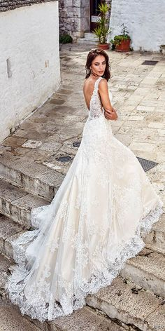 a line silhouette lace v neck embellishment wedding dress open back royal train eddy k 2018 bridal #weddingdress