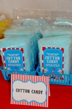 12 bags Cotton Candy Party by MySweetServings on Etsy Cotton Candy Favors, Cotton Candy Party, Blue Cotton Candy, Candy Party Favors, Birthday Party At Park, Carnival Birthday, Birthday Favors, Boy Birthday Parties, Girl Parties