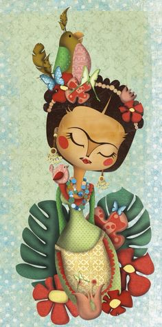 Frida Kahlo Inspired Art by lakisha Diego Rivera, Frida E Diego, Frida Art, Illustrations, Illustration Art, Jace, Art Sculpture, Mexican Folk Art, Decoupage