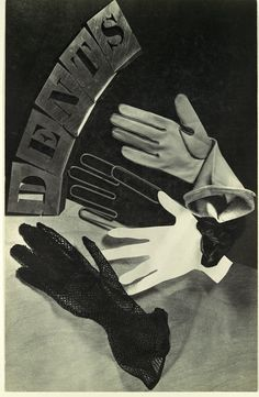 theshipthatflew:Dents, Ringl and Pit (Grete Stern and Ellen Auerbach), ca. 1934, advertising still life for women's gloves (source)