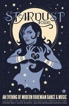 Stardust Follies: An Evening of Modern Bohemian Dance & Music in San Francisco.  Original artwork by Rich Black