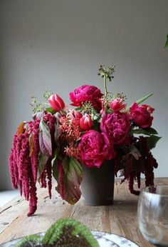 Love lies bleeding, hot pink peonies, tulips. From Honey of a Thousand Flowers Valentines shop