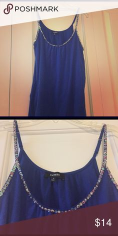 Sequined blue tank Comfortably loose fitting blue tank Express Tops Tank Tops