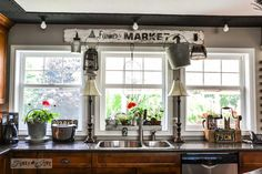 Love the number of windows for the kitchen. Farmers Market sign above windows in rustic kitchen, via Funky Junk Interiors Home Decor Kitchen, Rustic Kitchen, Country Kitchen, New Kitchen, Funky Kitchen, Kitchen Ideas, Kitchen Window Sill, Kitchen Window Treatments, Kitchen Windows