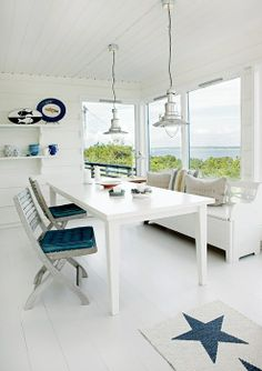 Nautical room + white walls + white floor + blue + red