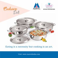 Eating is a necessity but cooking is an art. Tel : +91-22-49253333  #Cookware #Kitchenware #StainlessSteel #Cooking