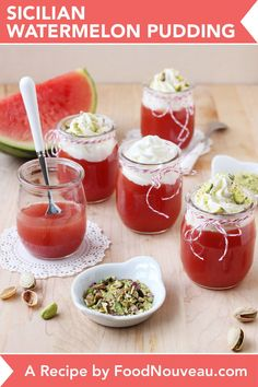Watermelon pudding is an easy dessert with a silky texture and bright taste. The perfect treat when you're looking for a leaner, but satisfying dessert. Light Summer Desserts, Easy Desserts, Fruit And Veg, Fruits And Veggies, Dairy Free Pudding, Pistachio Recipes, Watermelon Recipes, Pudding Recipes, Sicilian
