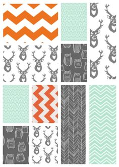Modern quilt for crib or toddler in woodland creatures orange, mint, gray