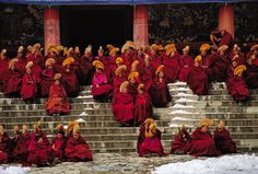 Monks of all ages await morning prayers and their first meal of the day at #Labrang monastery. #tibetanplateau #gansu #China #monks @thephotosociety #natgeo @natgeocreative by yamashitaphoto
