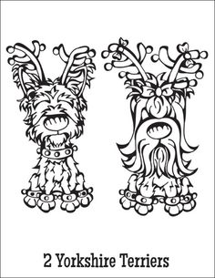 Free Coloring Page Download … 2 Yorkshire Terriers from the Twelve Dogs of Christmas