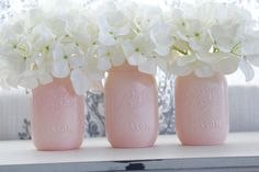 These are perfect for your special event. They would make a great addition to any Bridal or Baby shower. Extremely delicate and classic. Set of 3 Mason Jars. These are pint sized jars. Ballerina Pink color is so pretty. Dimensions: Pint = 16 ounces Product in Inches (L x W x H): 3.2 X 3.2 X 5.2 Mason Jar Disclaimer: Mason Jars are painted and sealed on the outside. Do not soak in water. Simply wipe with a dry cloth. These may be filled with water for flowers as the inside is not ...